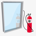 Low emissivity glass low e and argon gas for Argon gas windows